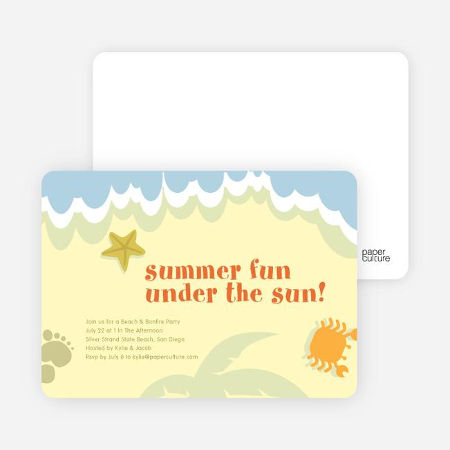 Beach Themed Summer Party Invitations - Lemon Chiffon
