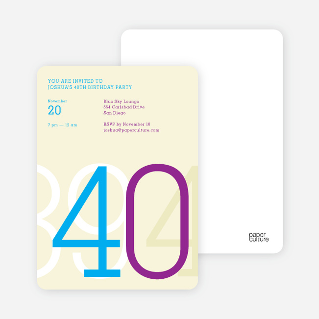 Big Numbers Invitations - Blue Bash