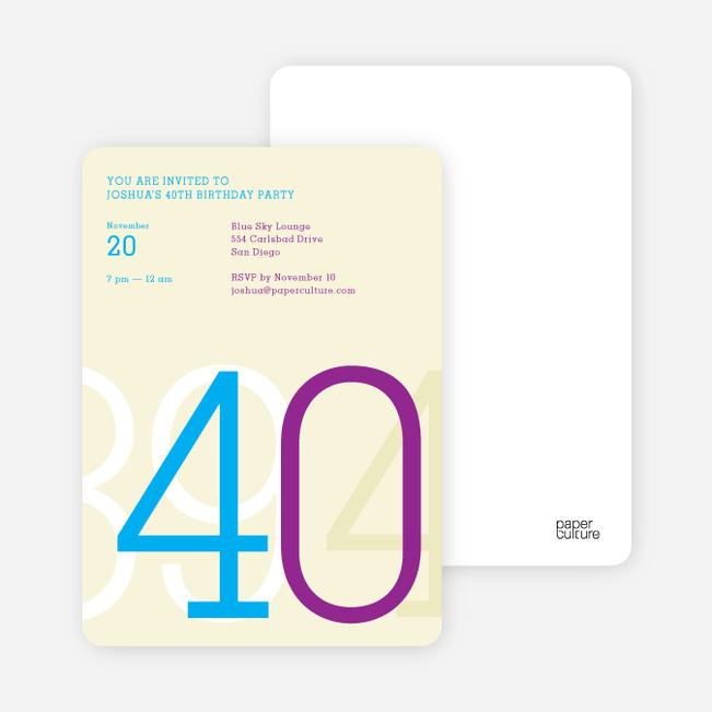 Big Numbers Invitations - Blue Bash