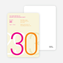 Big Numbers Invitations - Friendly Fuschia