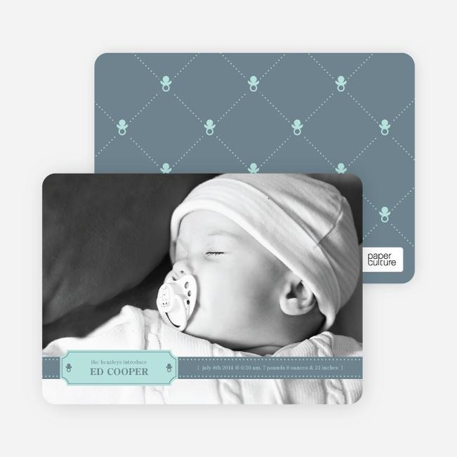 Binky Pacifier Baby Announcements - Slate