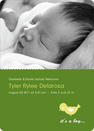 Birdie Baby Announcement - Grass Green
