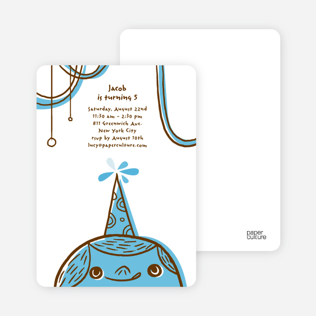 Birthday Party Celebration Invitations - Columbia Blue