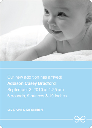 Blue Bow Modern Baby Announcement - Baby Blue