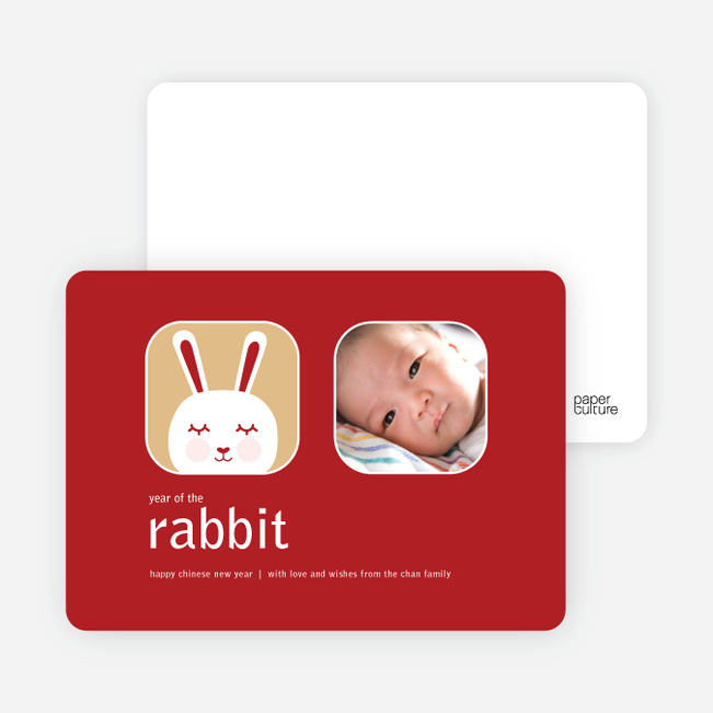 Blushing Rabbit Chinese New Year Cards - Red Apple