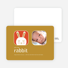 Blushing Rabbit Chinese New Year Cards - Modern Gold