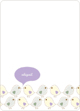 Notecards for the 'Birdie Baby Announcements' cards. - Lilac