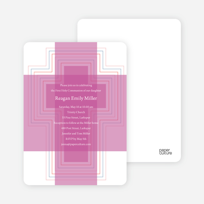 Bold, Geometric Cross – Holy Communion Invitations - Fuchsia