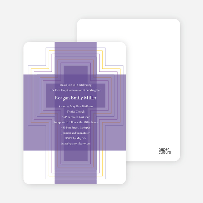 Bold, Geometric Cross – Holy Communion Invitations - Purple