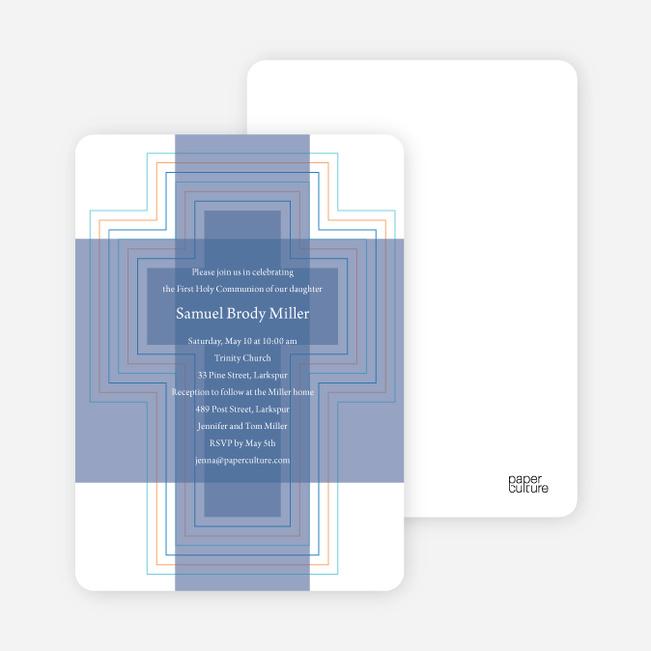 Bold, Geometric Cross – Holy Communion Invitations - Cadet Blue