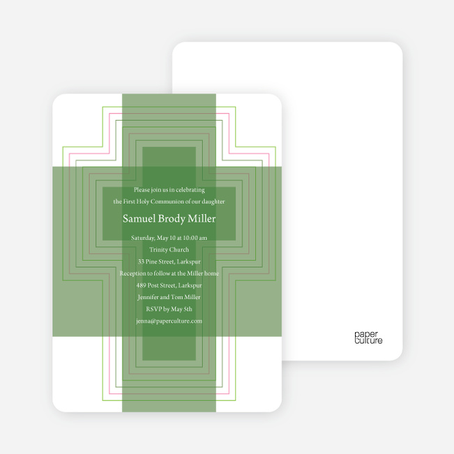 Bold, Geometric Cross – Holy Communion Invitations - Forest Green