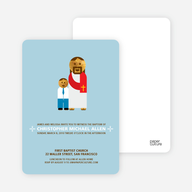 Boy and Jesus Baptism Invitation - Light Blue