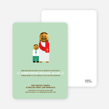 Boy and Jesus Baptism Invitation - Light Green