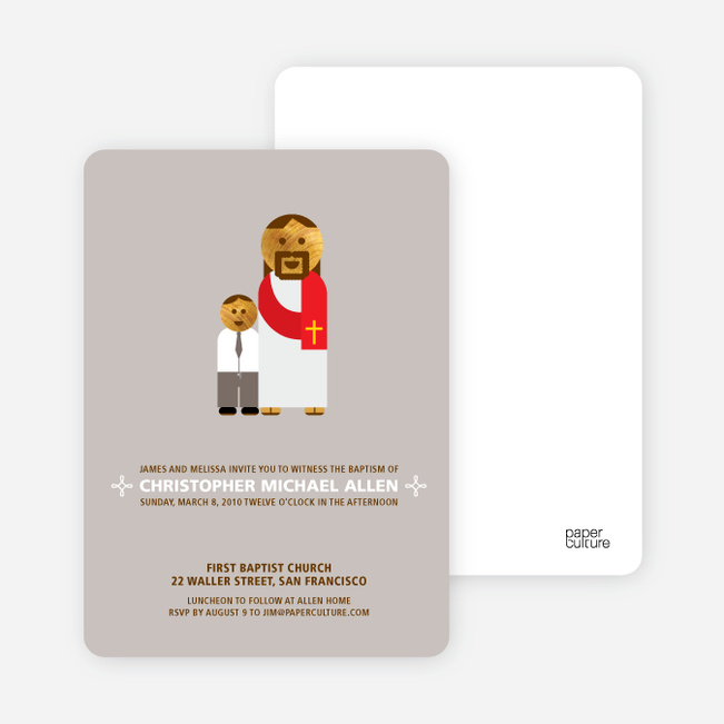 Boy and Jesus Baptism Invitation - Gray