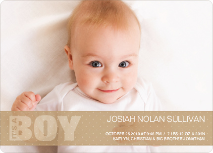 Boy Color Stripe Photo Baby Announcements - Beige