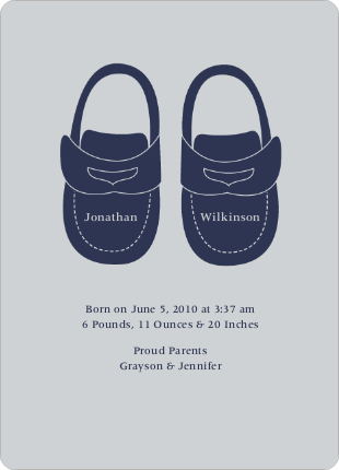 Boys' Shoes Modern Baby Announcement - Celadon