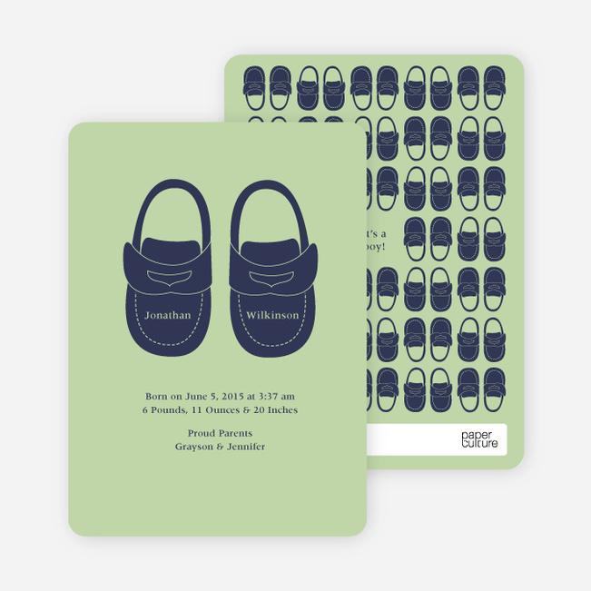 Boys' Shoes Modern Baby Announcement - Sea Green