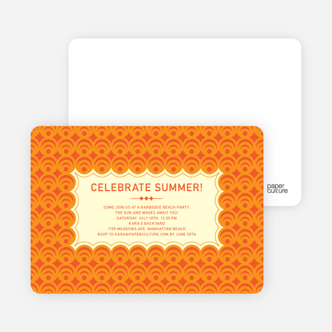 Bright and Bold Summer Celebration Invitations - Persimmon