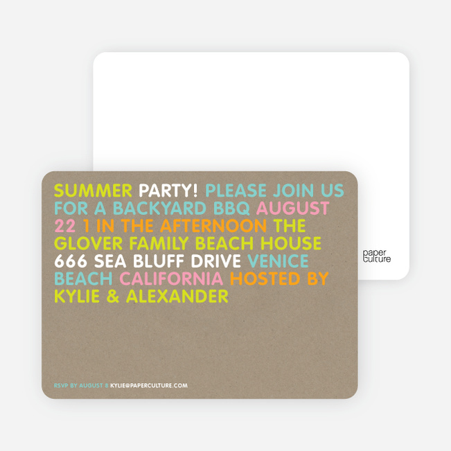 Bright Colors Summer Party Invitations - Pumpkin