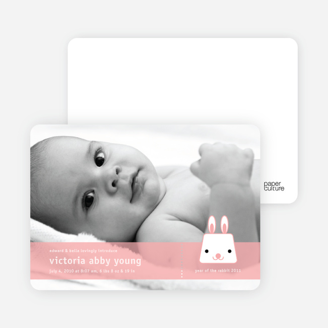 Bunny Rabbit Birth Announcements - Cotton Candy