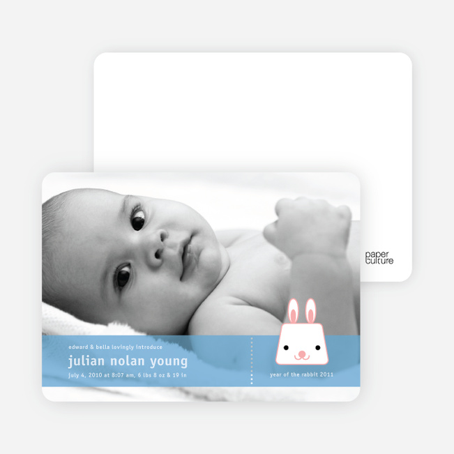 Bunny Rabbit Birth Announcements - Carnation