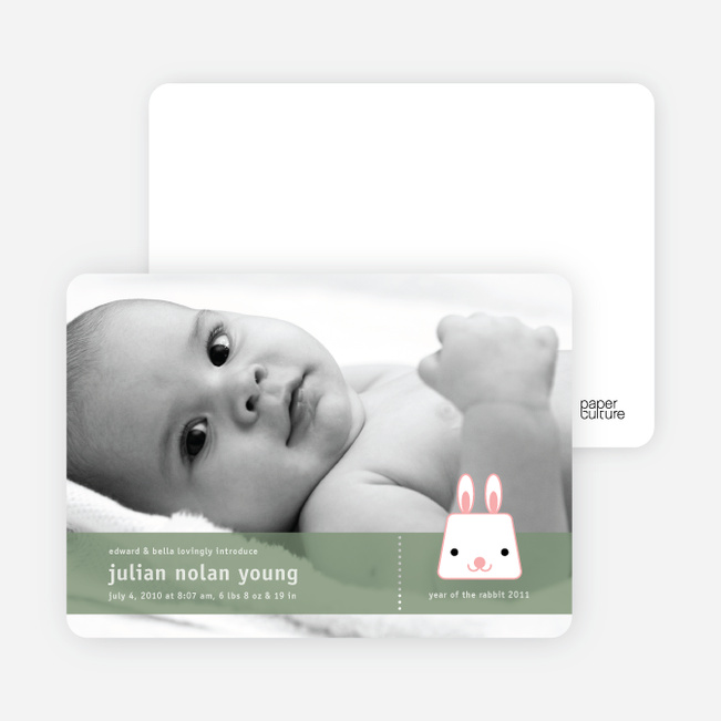 Bunny Rabbit Birth Announcements - Cotton Candy