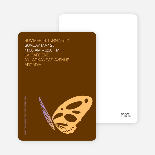 Butterfly Party Invitations - Apricot