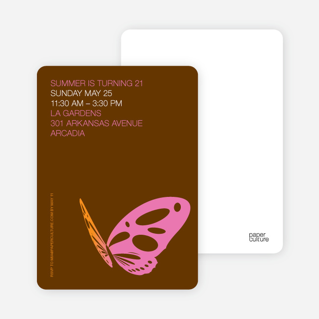 Butterfly Party Invitations - Hot Pink