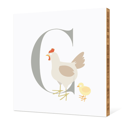 C Chicken Monogram Bamboo Art - Warm Gray