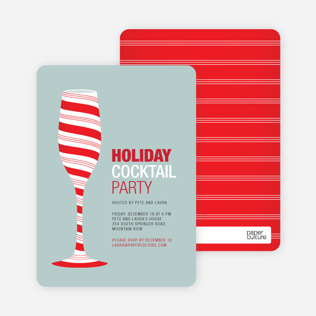 Candy Cane Cocktail Holiday Invitation - Berry Red