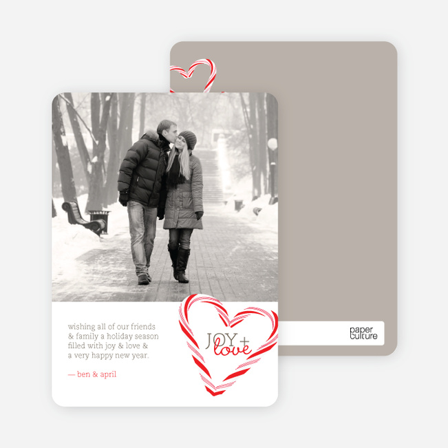 Candy Cane Holiday Cards - Tomato Red
