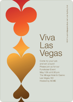 Casino Night Viva Las Vegas Party Invitations - Matted Chrome
