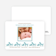 Cats and Dogs Photo Baby Announcement - Steel Blue