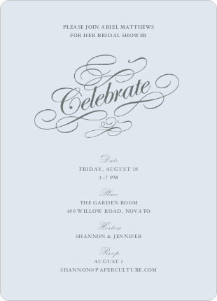 Celebrate: Bridal Shower Invitations - Glacier