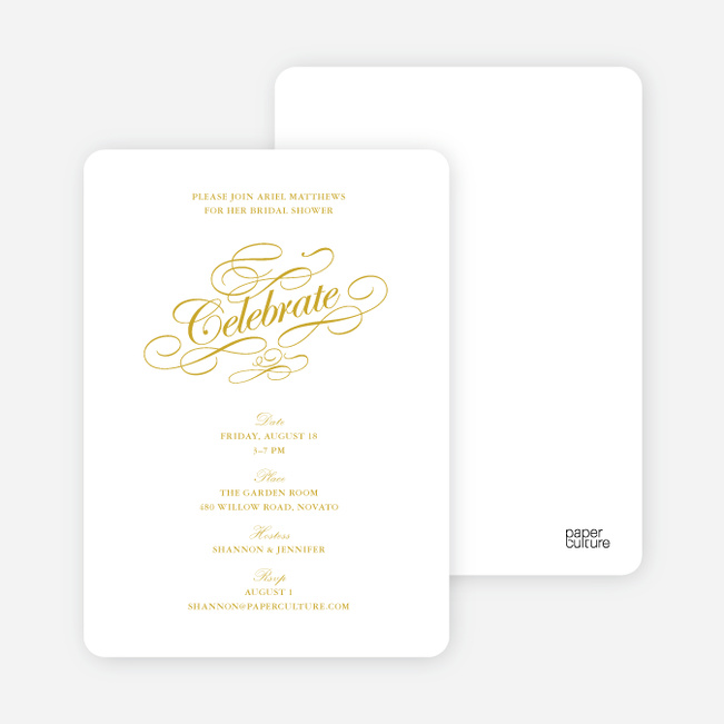 Celebrate: Bridal Shower Invitations - White