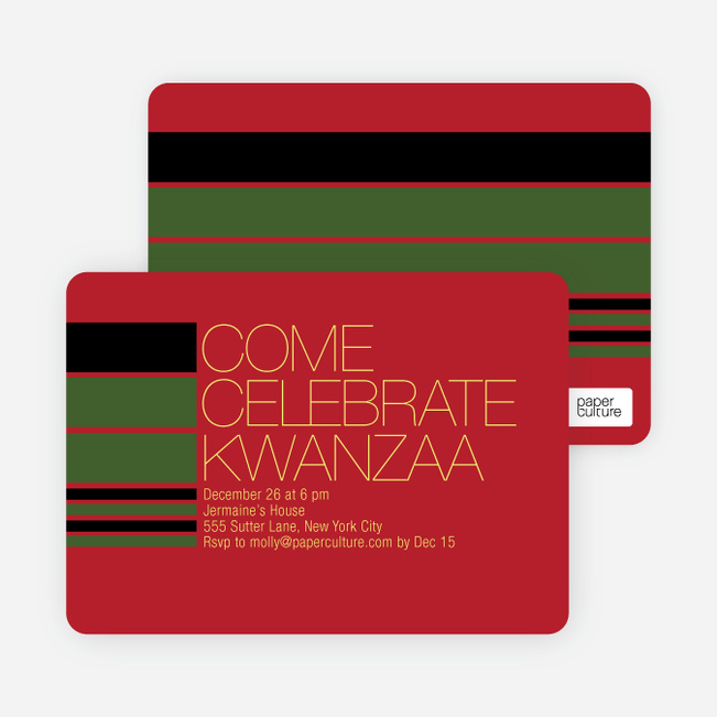 Celebrate Kwanza Invitation - Raspberry