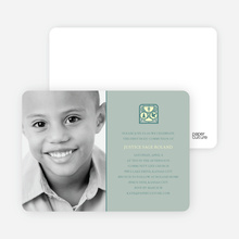 Chalice and Child First Holy Communion Invitations - Sage Green