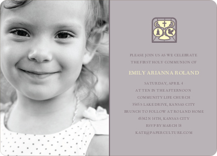 Chalice and Child First Holy Communion Invitations - Slate Grey