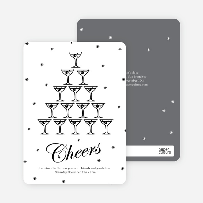 Cheers to the New Year New Year's Party Invitations - White