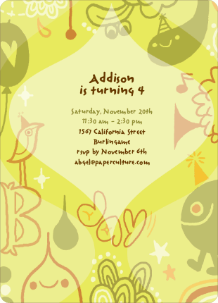 Child's Imagination Birthday Party Invitation - Pale Yellow