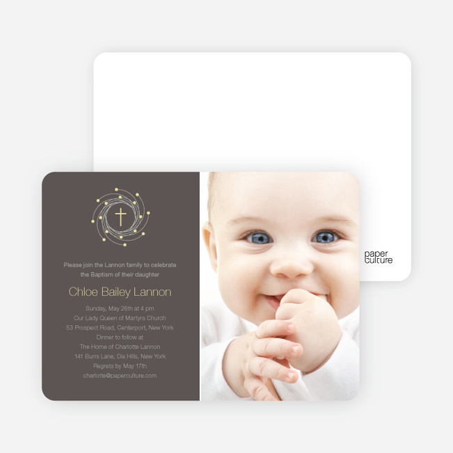 Christmas and Holiday Baptism Invitation - Light Yellow