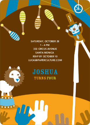 Circus Party Birthday Invitation - Saddle Brown