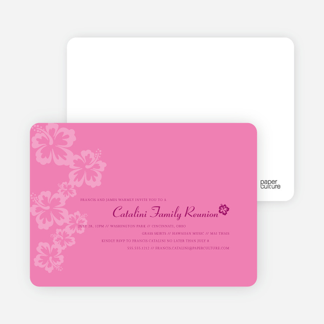 Classic Summer Flower Party Invitations - Shocking Pink