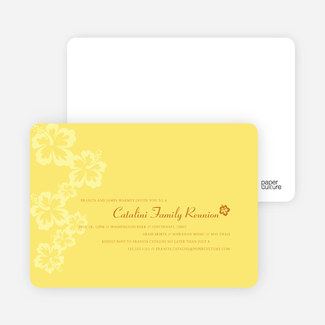 Classic Summer Flower Party Invitations - Sun Yellow