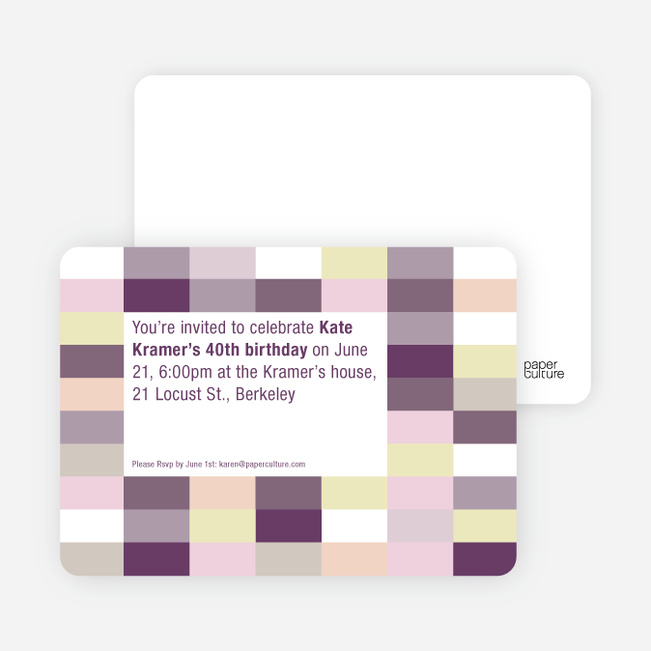 Color Blocks Party Invitations - Grape