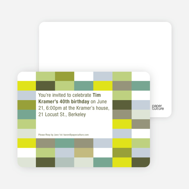 Color Blocks Party Invitations - Chartreuse