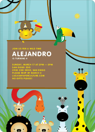 Jungle Themed Birthday Party Invitations - Jungle Mist