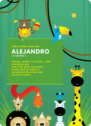 Jungle Themed Birthday Party Invitations - Rain Forest