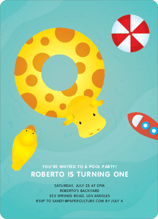 Swimming Pool Themed Birthday Party Invitations - Aqua
