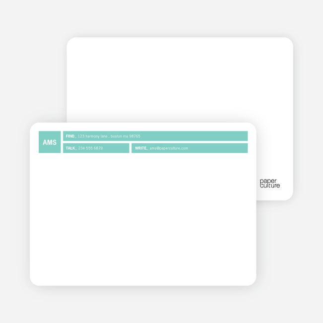 Colored Blocks Personal Stationery - Teal